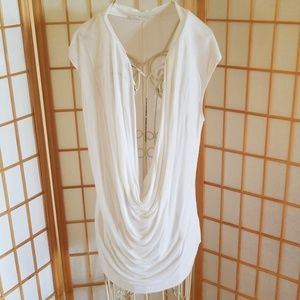Old Navy White Cover Up Tee Shirt Top